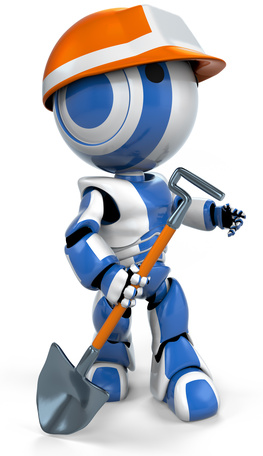 Blue Robot Hardhat Working Class